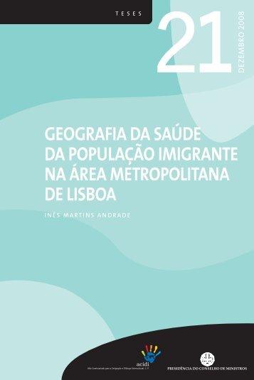 geografia da saúde da população imigrante na área metropolitana ...