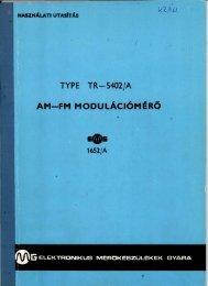 EMG 1652/A AM-FM MODULÁCIÓMÉRŐ használati utasítás