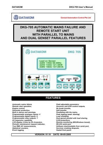 DKG-705 AUTOMATIC MAINS FAILURE AND REMOTE START ...