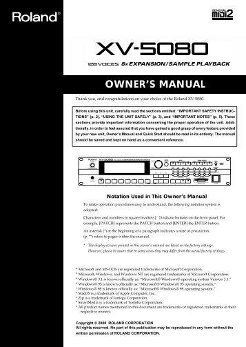 XV-5080 Manual - Roland