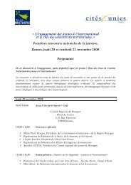 Programme des Rencontres - Cités Unies France