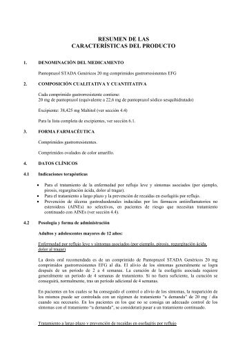 RESUMEN DE LAS  CARACTERÍSTICAS DEL PRODUCTO - Stada