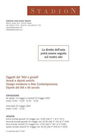 900 e gioielli Arredi e dipinti antichi Design - Stadion Casa D'Aste