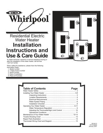 Installation Instructions and Use & Care Guide - Whirlpool Water ...