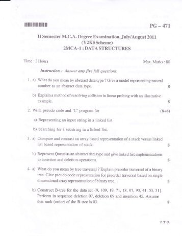 Paper - 2MCA-1 : DATA STRUCTURES - Surana college
