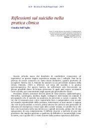 Riflessioni sul suicidio nella pratica clinica - ACP