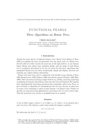 FUNCTIONAL PEARLS Three Algorithms on Braun  Trees - West Point