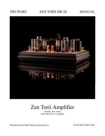 Zen Torii Owners Manual - Decware