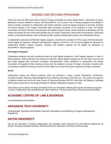 Degree & Diploma Programs - The Indus Foundation