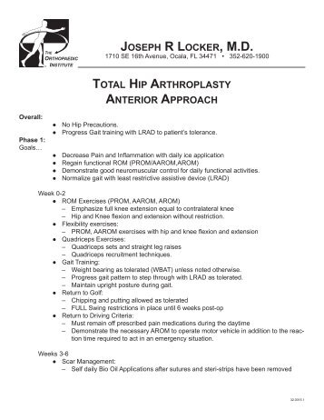 Total Hip Arthroplasty Lateral Approach Rehab Protocol