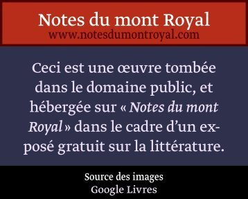 de litterature. - Notes du mont Royal