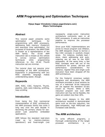 ARM Programming and Optimisation Techniques
