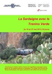 La Sardaigne avec le Trenino Verde du 18 au 27 mai ... - SERVRail