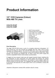 """Product Information 1/3"""" CCD Cameras (Colour) With 460 ... - Altram"""