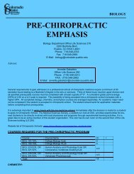Pre-Chiropractic - The College of Science and Mathematics (CSM)