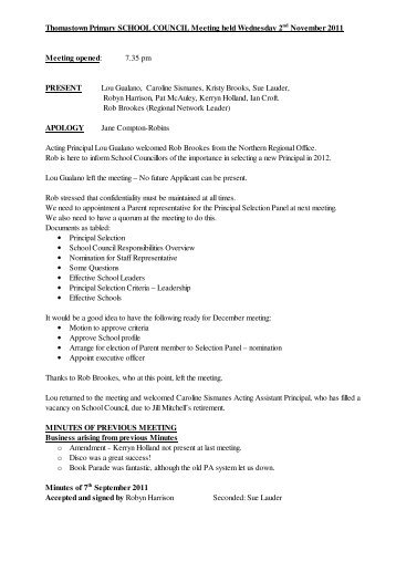 School Council Minutes November 2011 - Thomastown Primary ...