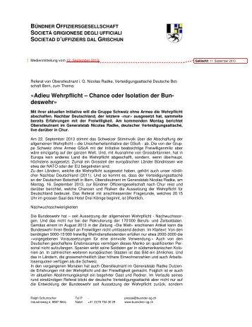 Adieu Wehrpflicht – Chance oder Isolation der Bun - Bündner ...