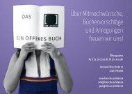 Über Mitmachwünsche, Büchervorschläge und Anregungen freuen ...