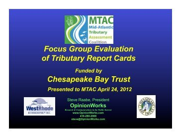 Focus Group Evaluation of Tributary Report Cards Chesapeake Bay ...