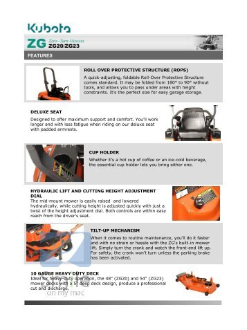 Kubota Commercial Zero Turn Mowers Z Series ZG20 ZG23 Features