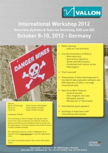 International Workshop 2012 October 8-10, 2012 - Germany - Vallon