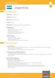 Fiche pays Argentine, 2012 - Veille info tourisme