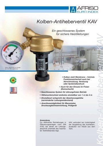 Prospekt für Kolben-Antiheberventil KAV - Der Wekonn e-shop