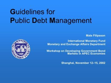 Guidelines for Public Debt Management - World Bank