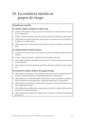 10. La conducta suicida en grupos de riesgo