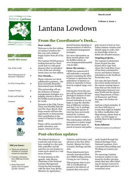 Lantana Lowdown Volume 2 Issue 1 - Weeds Australia