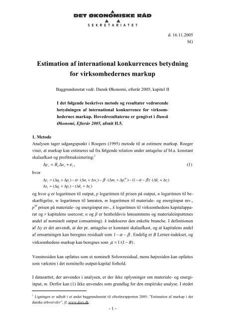 Estimation af international konkurrences betydning for ...