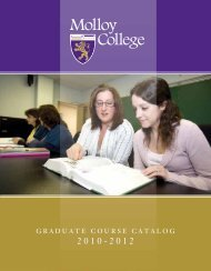 Graduate course catalog 2010-2012 - Molloy College