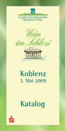 Koblenz 3. Mai 2009 Katalog - Wein im Schloss
