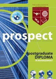 Postgraduate Diploma Prospectus - The Cyprus Institute of Marketing