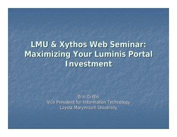 Loyola Marymount University Luminis & Xythos Presentation