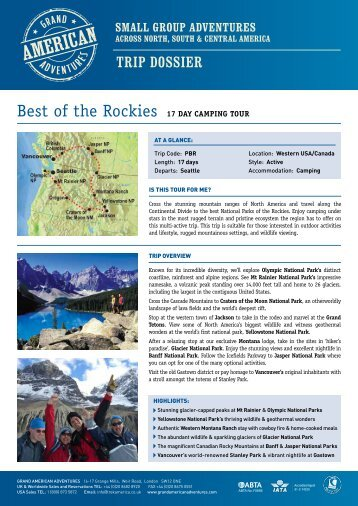 Best of the Rockies 17 Day CaMPING Tour - Adventure Holidays ...