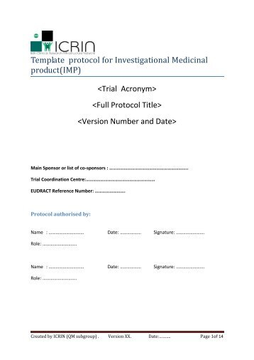 Template protocol for Investigational Medicinal product(IMP)