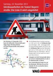 Gleisbauarbeiten im Tunnel Bayern- straße - VAG