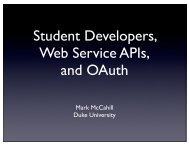 Student Developers, Web Service APIs, and OAuth