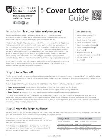 Cover Letter Guide - Students - University of Saskatchewan