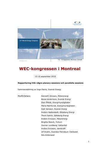 WEC-kongressen i Montreal - World Energy Council