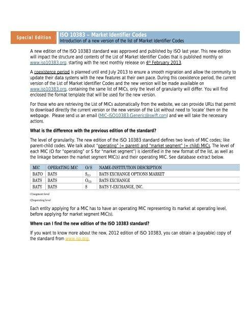 ISO 10383 – Market Identifier Codes - ISO 15022