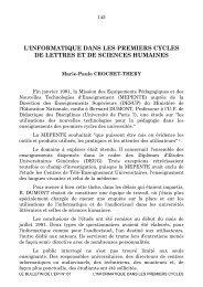 L'INFORMATIQUE DANS LES PREMIERS CYCLES DE ... - HAL