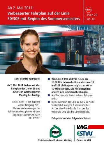 Ab 2. Mai 2011: Verbesserter Fahrplan auf der Linie 30/30E mit - VAG