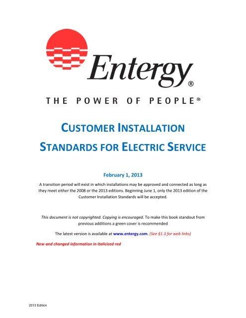 2013 Customer Installation Standards Manual - Entergy New
