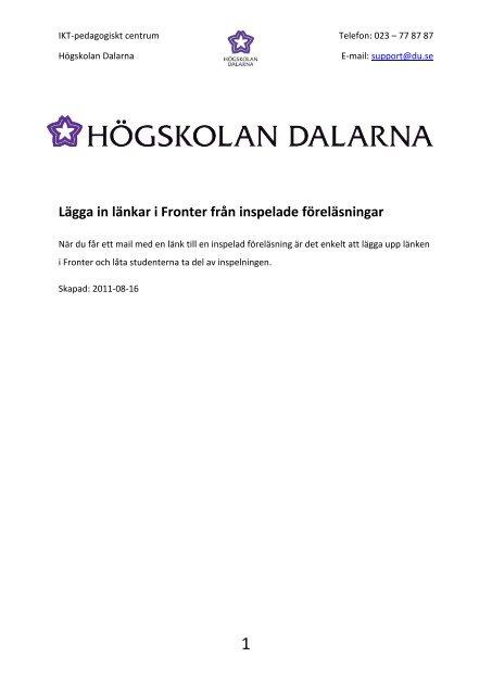 Lägga in länkar i Fronter från inspelade föreläsningar - IKT ...