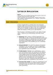 LETTER OF APPLICATION - Bewerbungstraining Online
