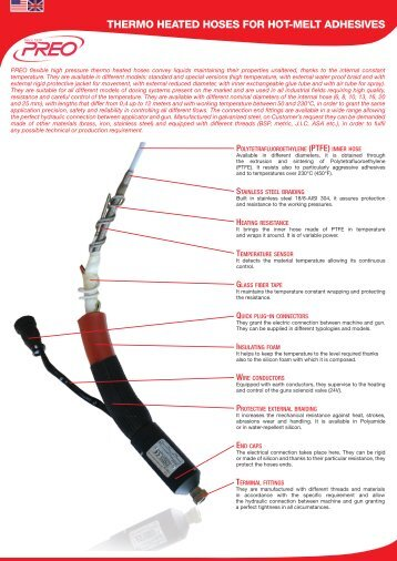THERMO HEATED HOSES FOR HOT9MELT ADHESIVES - Preo srl