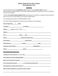 Molloy College Summer Music Institute 2012 Application Form