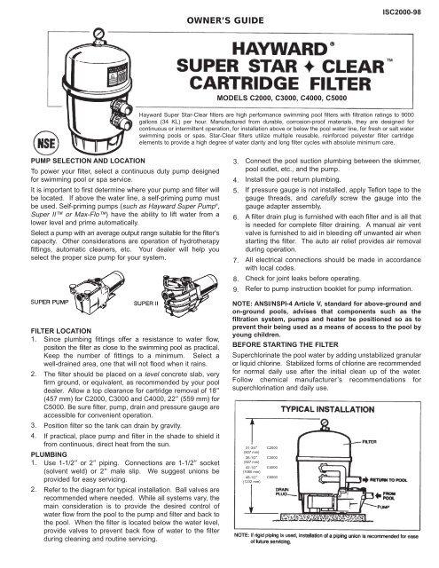 Hayward Super Star-Clear™ Cartridge Filter     - Hayward Pools